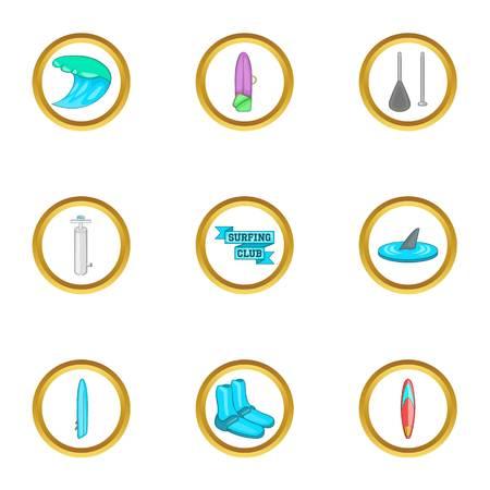 short trip: Surfing club icons set, cartoon style