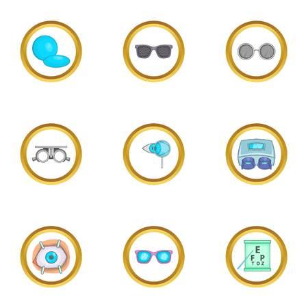 Ophthalmology equipment icons set, cartoon style