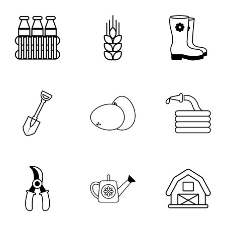 plow: Agriculture icons set, outline style Illustration