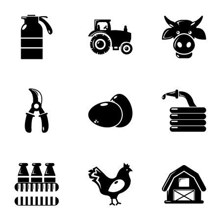 Agriculture icons set, simple style Illustration