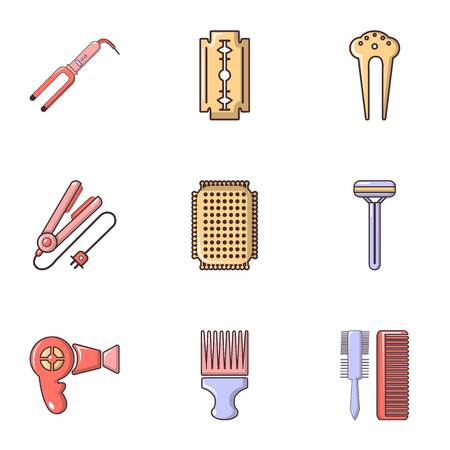 curler: Beauty salon stuff icons set, flat style