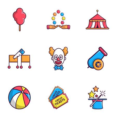 Circus show icons set, flat style