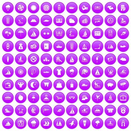 rainbow slide: 100 water sport icons set purple