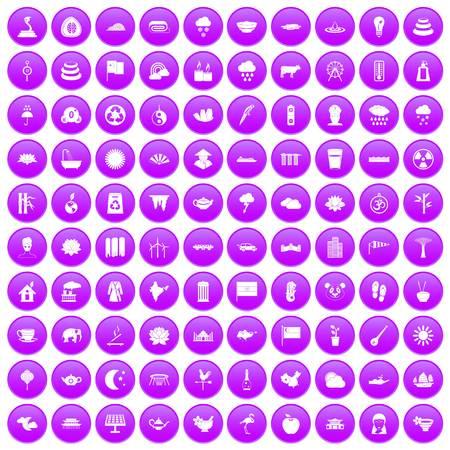 100 lotus icons set purple