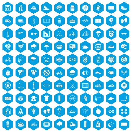 bicycle pump: 100 cycling icons set in blue hexagon isolated vector illustration