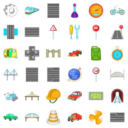 Rail bridge icons set. Cartoon style of 36 rail bridge vector icons for web isolated on white background Ilustração