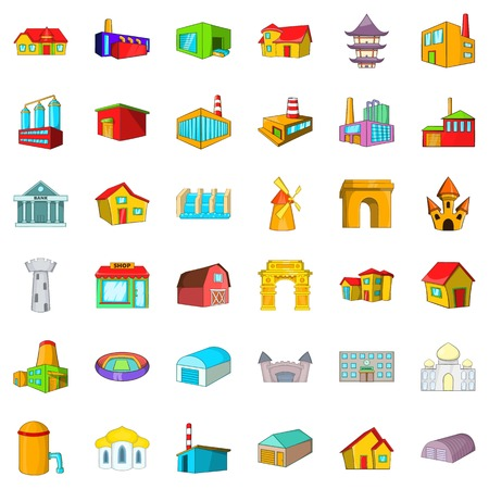 Town, building icons set, cartoon style