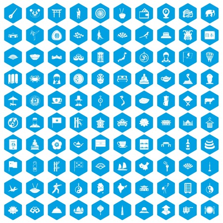 100 dish icons set in blue hexagon isolated vector illustration