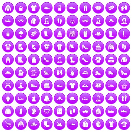 hangers: 100 rags icons set purple Illustration