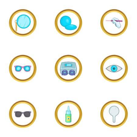 Eye care ophthalmology icons set, cartoon style Illustration