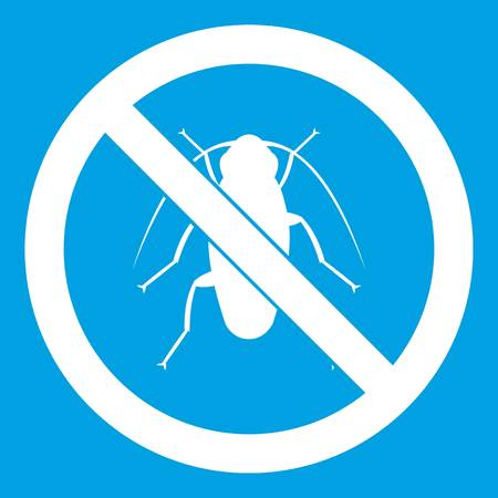 No cockroach sign icon white isolated on blue background vector illustration