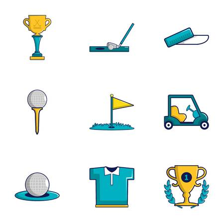 Game of golf icons set. Cartoon set of 9 game of golf vector icons for web isolated on white background