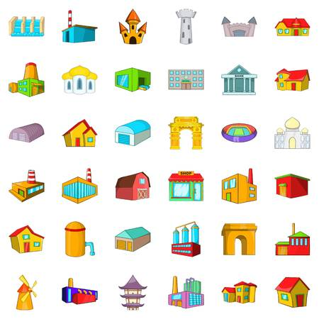 Old building icons set, cartoon style