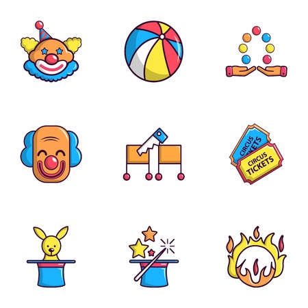 Funfair icons set. Flat set of 9 funfair vector icons for web isolated on white background