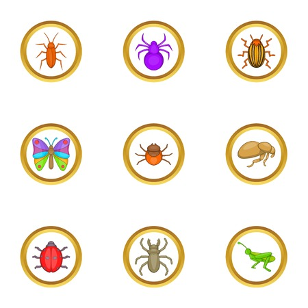 ladybird: Different insects icons set. Cartoon set of 9 different insects vector icons for web isolated on white background