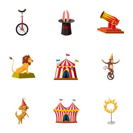 Circus show icons set. Cartoon set of 9 circus show vector icons for web isolated on white background Illustration
