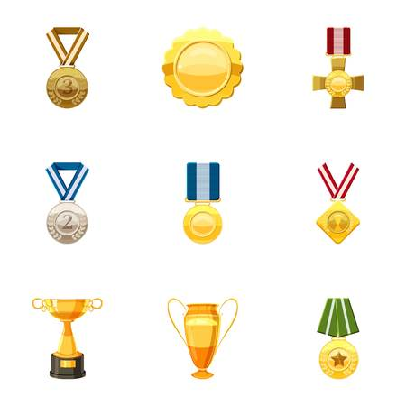 nominated: Honorable medals icons set. Cartoon set of 9 honorable medals vector icons for web isolated on white background