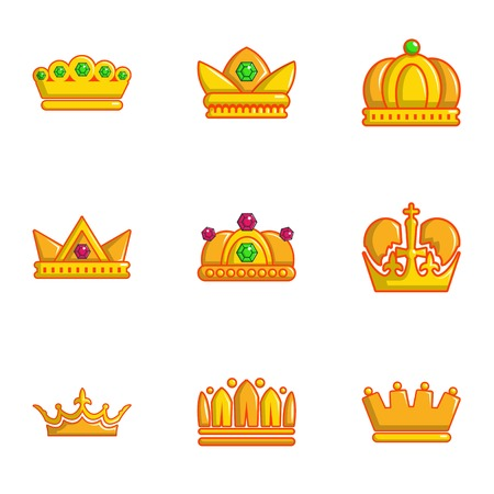 Gold crown icons set. Flat set of 9 gold crown vector icons for web isolated on white background