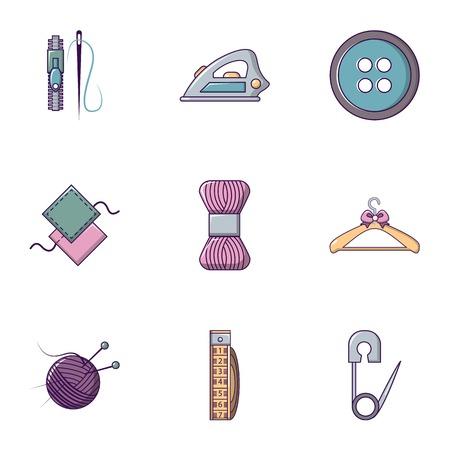 Knitting icons set. Flat set of 9 knitting vector icons for web isolated on white background