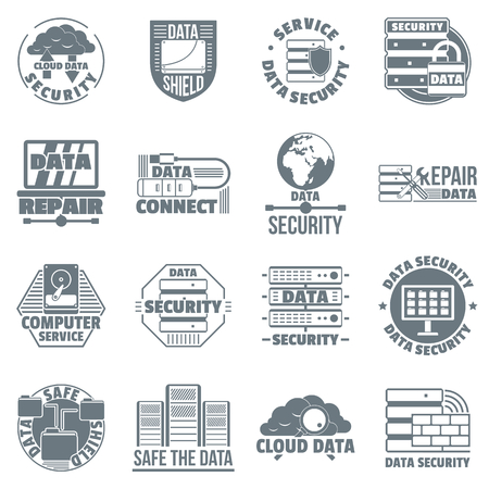 Database security icons set. Simple illustration of 16 database security vector icons for web