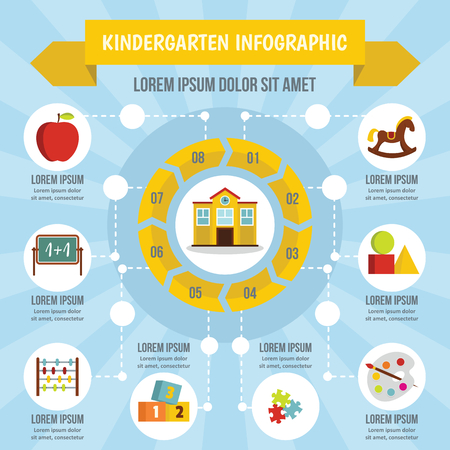 Kindergarten infographic banner concept. Flat illustration of kindergarten infographic vector poster concept for web