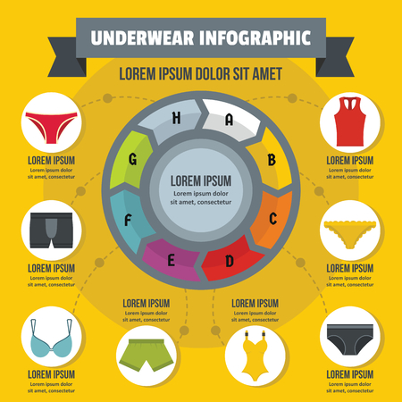 Underwear infographic banner concept. Flat illustration of underwear infographic vector poster concept for web
