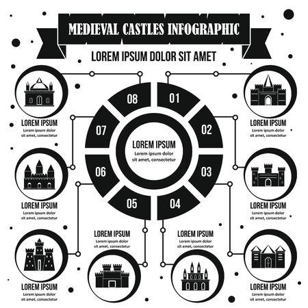 medieval châteaux infographie signe concept. illustration simple de symboles de châteaux de l & # 39 ; architecture médiévale pour le web