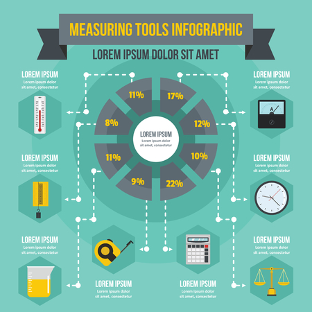 Measuring tools infographic banner concept. Flat illustration of measuring tools infographic vector poster concept for web