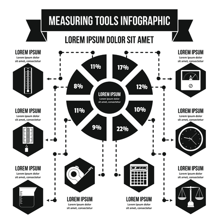 depth measurement: Measuring tools infographic banner concept. Simple illustration of measuring tools infographic vector poster concept for web Illustration