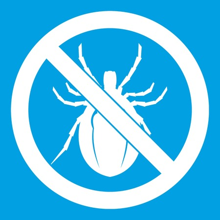 No bug sign icon white isolated on blue background vector illustration