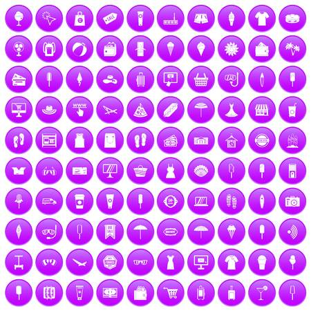 100 summer shopping icons set purple Ilustração