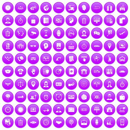 100 working hours icons set purple. Vector illustration. Illustration