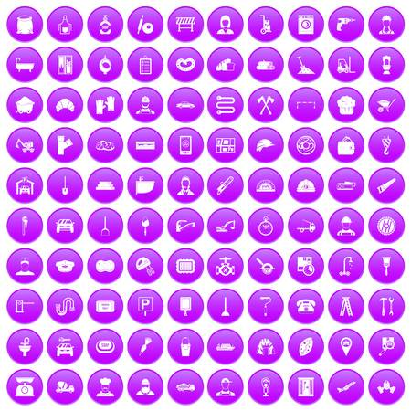 stove pipe: 100 working professions icons set purple. Vector illustration.
