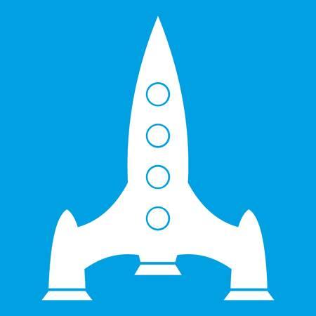 Rocket icon white isolated on blue background vector illustration Illustration