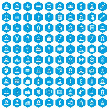 100 hairdresser icons set blue. Vector illustration. Illustration