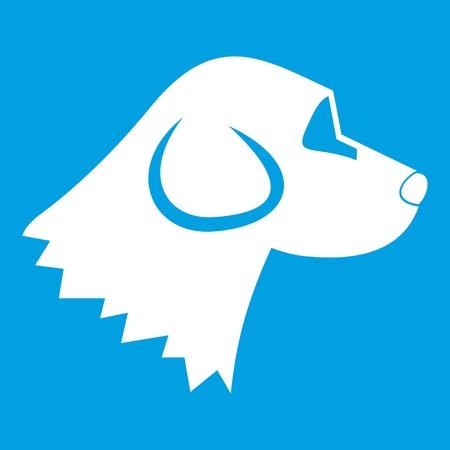 Beagle dog icon white isolated on blue background vector illustration