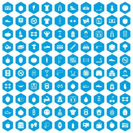 heart monitor: 100 gym icons set blue