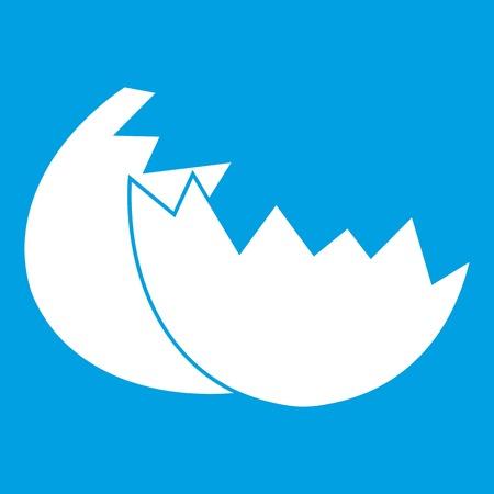 Egg shell icon white isolated on blue background vector illustration