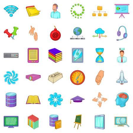 disco duro: Conjunto de iconos de negocios taller. Estilo de dibujos animados de 36 iconos de vector de taller de negocios para web aislado sobre fondo blanco
