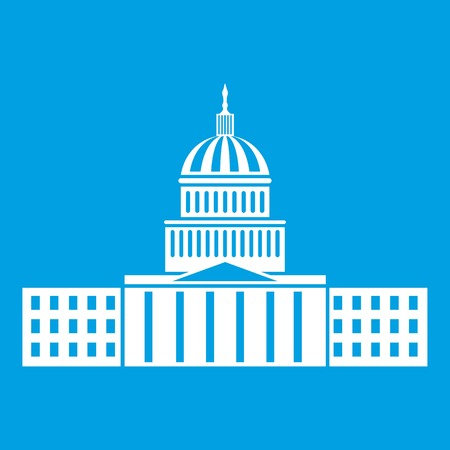 Capitol icon white isolated on blue background vector illustration