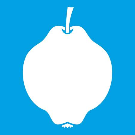 Quince fruit icon white isolated on blue background vector illustration