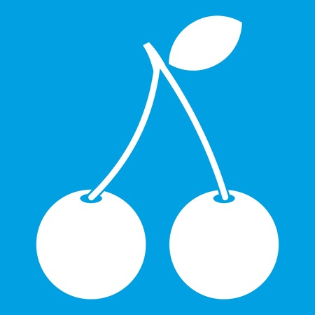glace: Two ripe cherry berries icon white isolated on blue background vector illustration