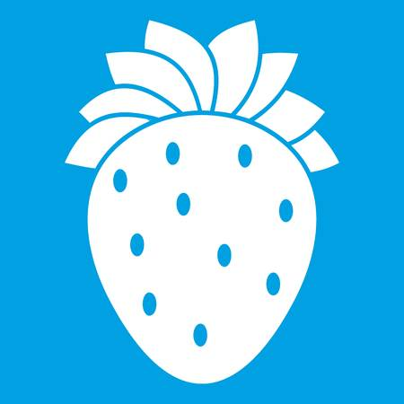 Strawberry icon white isolated on blue background vector illustration