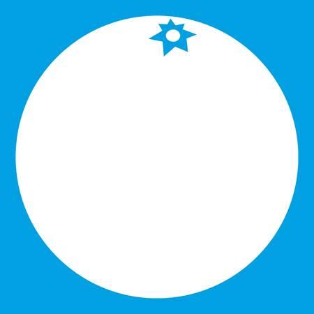Mandarin icon white isolated on blue background vector illustration Illustration