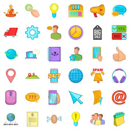 meditation man: Call center icons set. Cartoon style of 36 call center vector icons for web isolated on white background