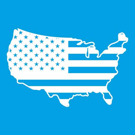 USA map icon white isolated on blue background vector illustration