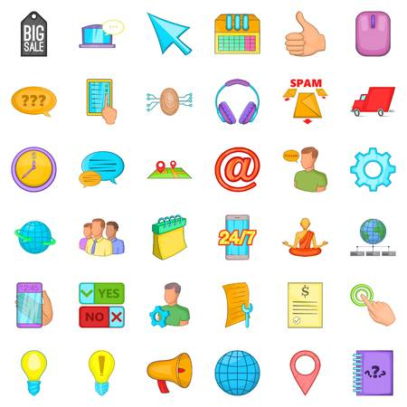 meditation man: Consultation on phone icons set. Cartoon style of 36 consultation on phone vector icons for web isolated on white background