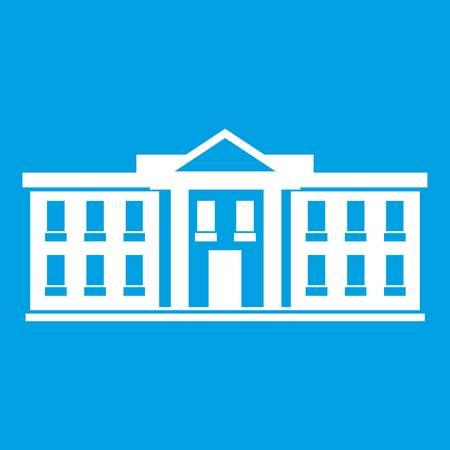 White house USA icon white isolated on blue background vector illustration Illustration