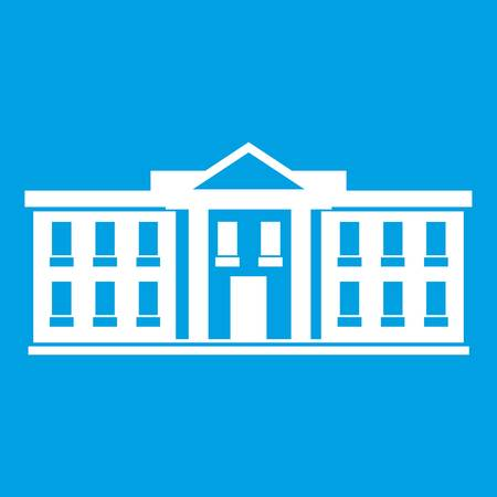 federal election: White house USA icon white isolated on blue background vector illustration Illustration