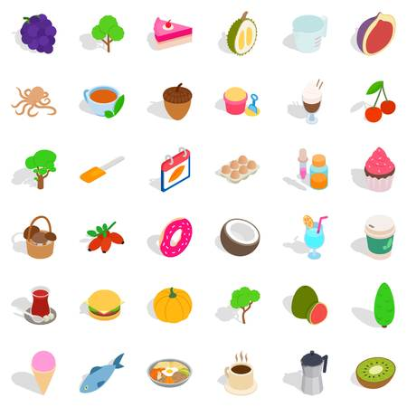 Cafe food icons set. Isometric style of 36 cafe food vector icons for web isolated on white background